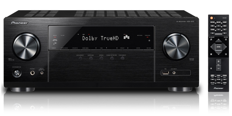 Pioneer VSX-832 (VSX832) 5 1 AV Receiver with Dolby Atmos, DTS:X, Spotify,  Bluetooth